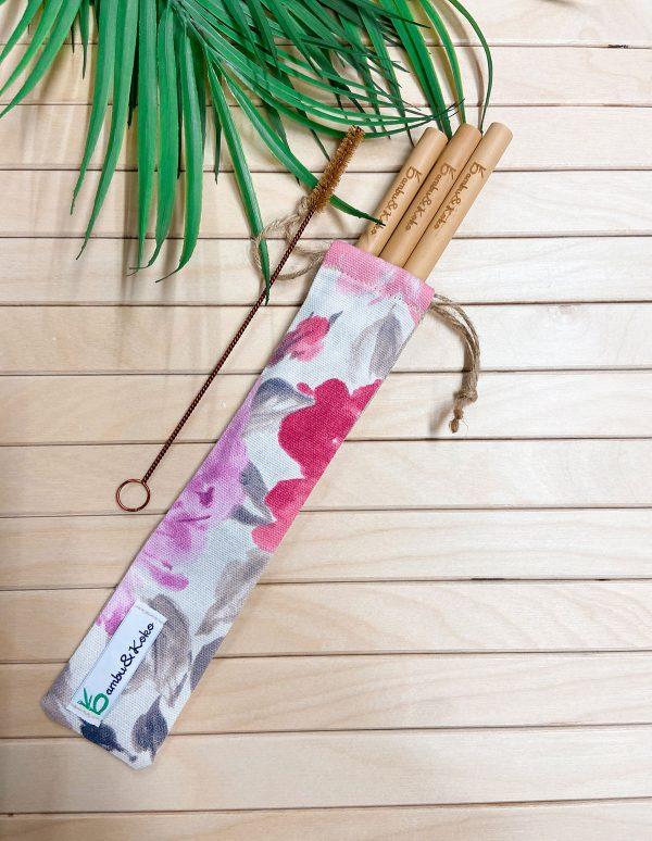bambusové slamky v jahodovom vrecúšku