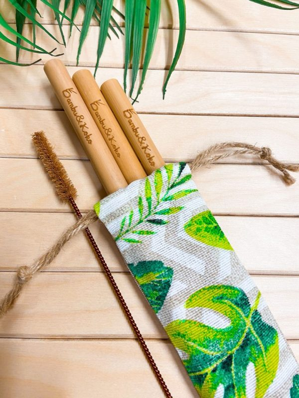 Bambusové slamky s vrecúškom