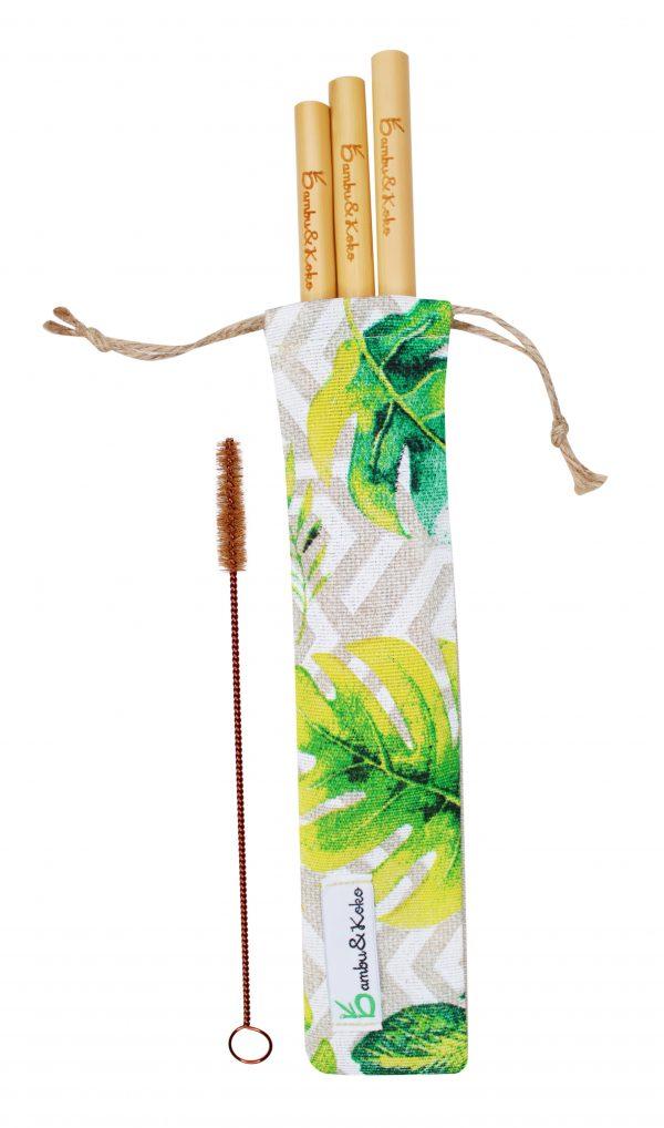 Bambusové slamky v tropickom sete