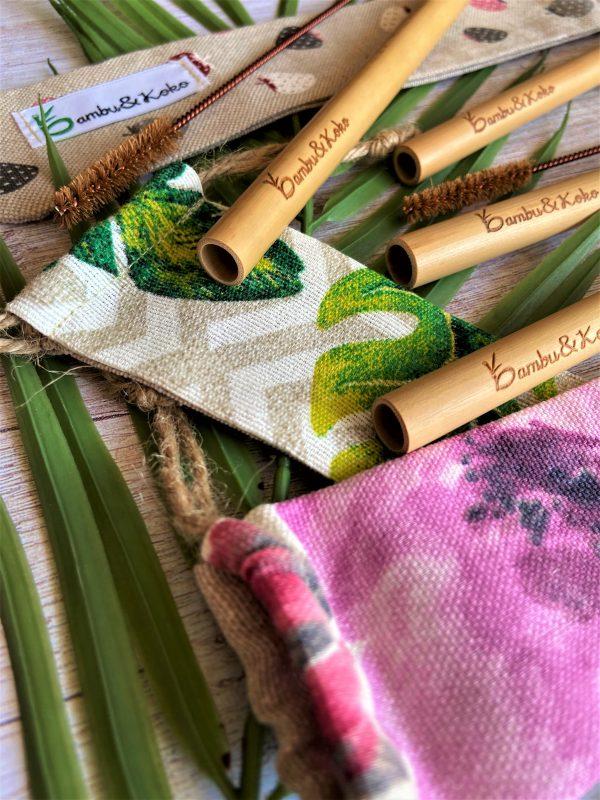 bambusové slamky s vrecúškami