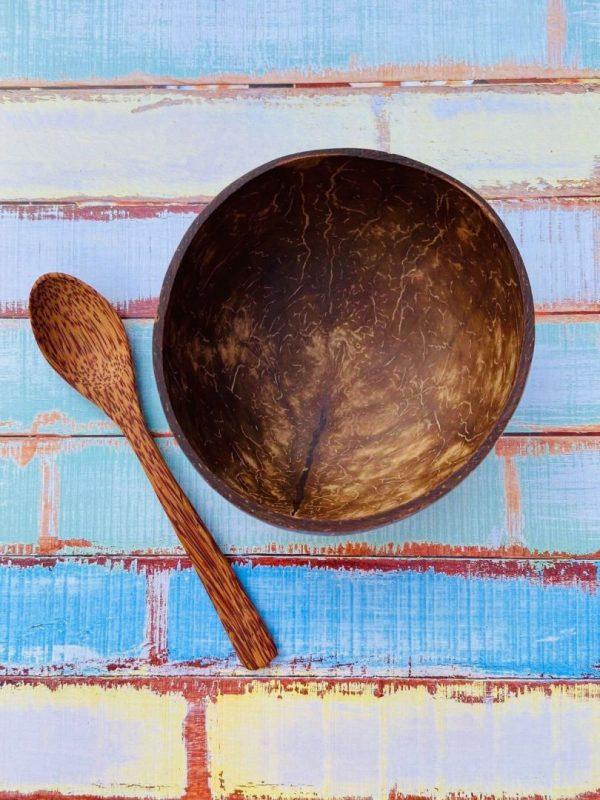 kokosová miska v balení s kokosovou lyžicou