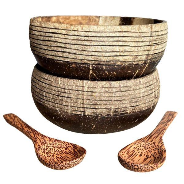 Prúžkovaný set - 2x kokosová miska a lyžica