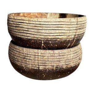 Prúžkovaná dvojka - 2x kokosové misky bez lyžice