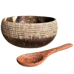 Prúžkované duo - kokosová miska a lyžica