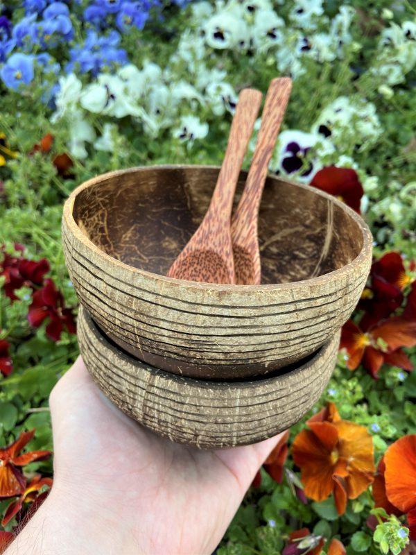 kokosová miska prúžkované s lyžicami